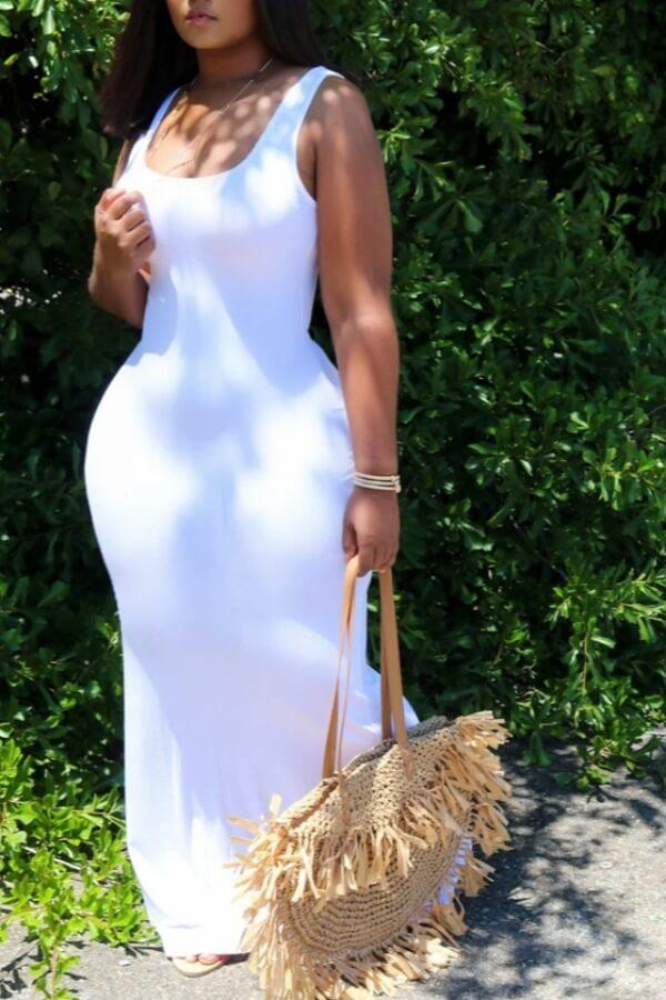 Lovely Leisure U Neck Basic White Maxi Dress