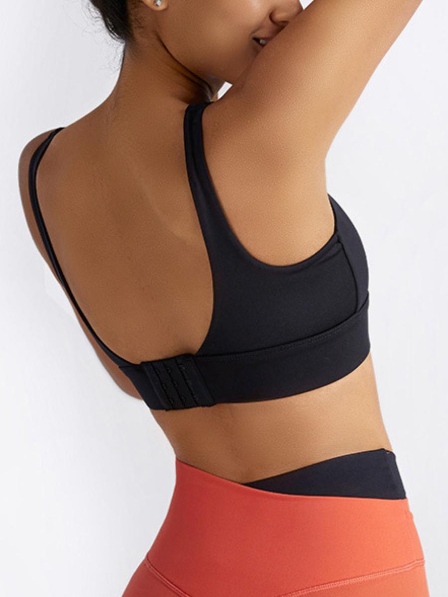 Lovely Sporty V Neck Skinny Black Sports Bra